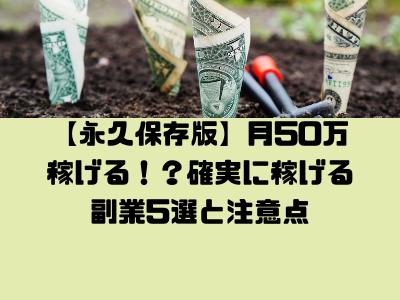【永久保存版】月50万稼げる!?確実に稼げる副業5選と注意点